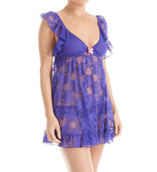 Betsey Johnson Intimates Lace Neon Babydoll with Matching Panty 7321156