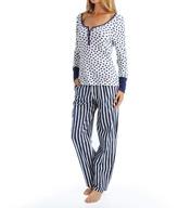 Betsey Johnson Intimates Wonderland Rib and Flannel Pajama Set 7391088