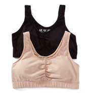 Fruit Of The Loom Shirred Front Removable Pads Sport Bra - 2 Pack FT438