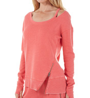 Steve Madden Activewear Distressed Asymmetrical Pullover with Zipper SMT32307